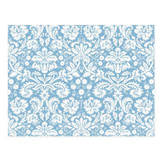Blue fancy damask pattern post cards