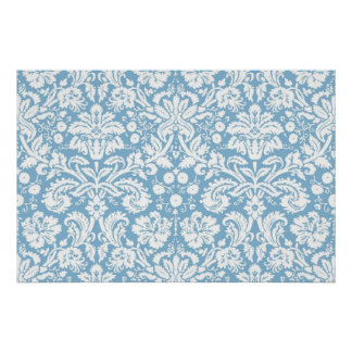 Blue fancy damask pattern poster