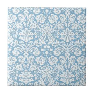 Blue fancy damask pattern ceramic tile