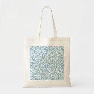 Blue fancy damask pattern tote bag