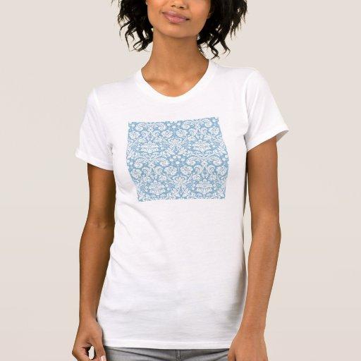 Blue fancy damask pattern t shirts