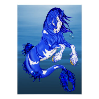 Blue Fantasy Clydesdale Seahorse Poster