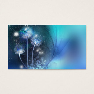 blue fantasy dandelions business card