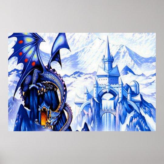 Blue Fantasy Dragon Poster