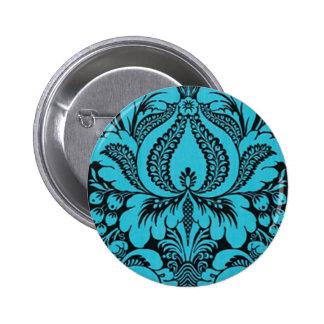 Blue Fantasy Floral Button