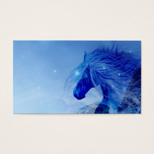 Blue fantasy horse business card