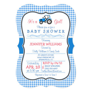 Blue Farm Tractor, Country Girl Baby Shower 13 Cm X 18 Cm Invitation Card