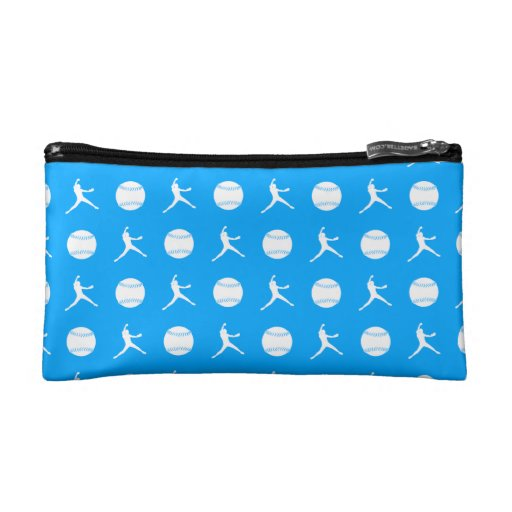 Blue Fastpitch Pattern Clutch Cosmetic Bags