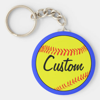 Blue Fastpitch Softball Team, Player, Coach Custom Key Ring