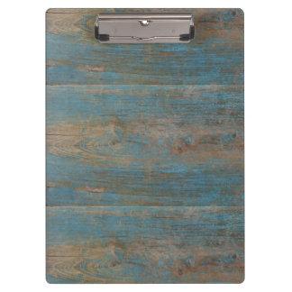 Blue Faux Beach Wood Texture Clipboard