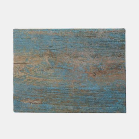 Blue Faux Beach Wood Texture Doormat