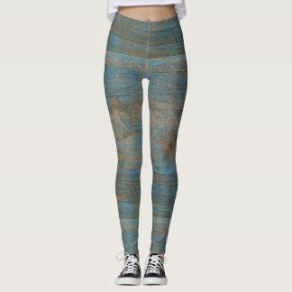 Blue Faux Beach Wood Texture Leggings