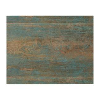Blue Faux Beach Wood Texture Wood Print