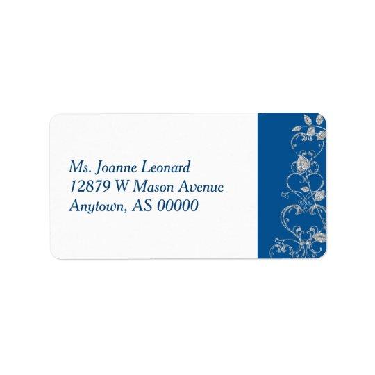 Blue Faux Diamond Heart Swirl Address Labels