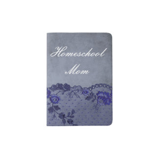 Blue Faux Floral Lace Homeschool Mom Passport Holder