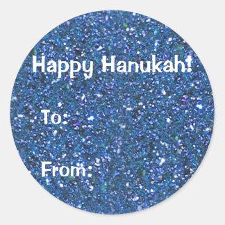 Blue (faux) Glitter Hanukkah Gift Stickers