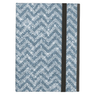 Blue Faux Glitter Sparkle Chevron Case For iPad Air