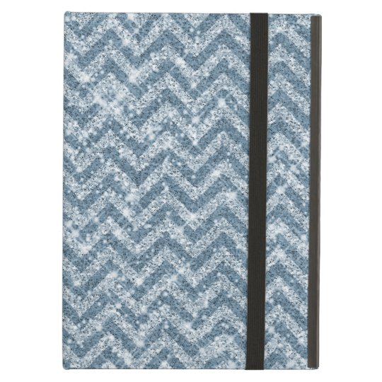 Blue Faux Glitter Sparkle Chevron Case For iPad