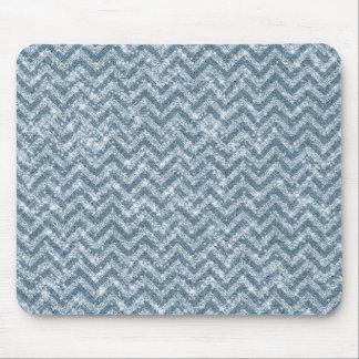 Blue Faux Glitter Sparkle Chevron Mouse Pad