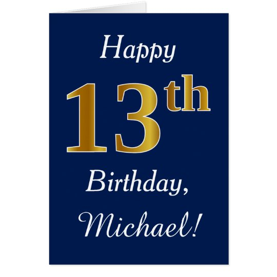 Blue, Faux Gold 13th Birthday + Custom Name