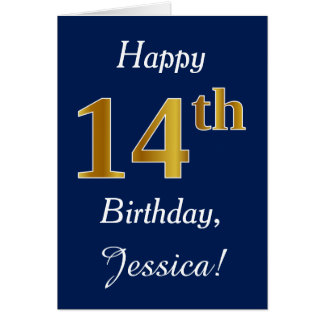 Blue, Faux Gold 14th Birthday + Custom Name Card