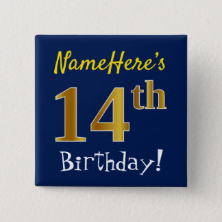 Blue, Faux Gold 14th Birthday, With Custom Name 15 Cm Square Badge