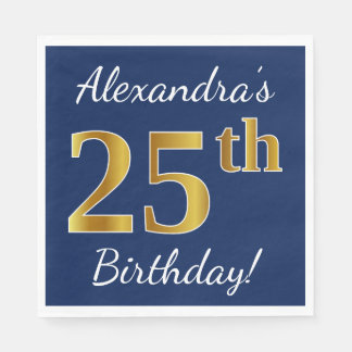 Blue, Faux Gold 25th Birthday + Custom Name Paper Serviettes