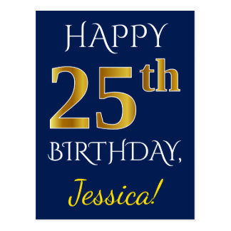 Blue, Faux Gold 25th Birthday + Custom Name Postcard