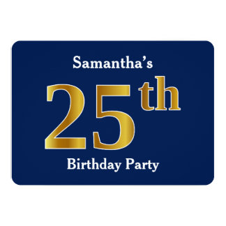 Blue, Faux Gold 25th Birthday Party + Custom Names Card