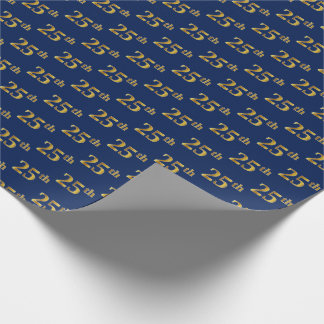 Blue, Faux Gold 25th (Twenty-Fifth) Event Wrapping Paper