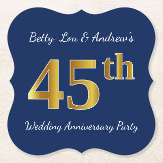 Blue, Faux Gold 45th Wedding Anniversary Party Paper Coaster