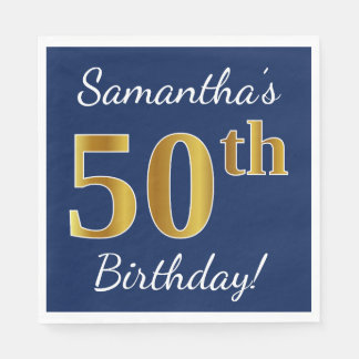 Blue, Faux Gold 50th Birthday + Custom Name Disposable Napkins