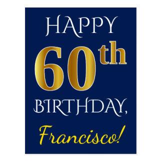 Blue, Faux Gold 60th Birthday + Custom Name Postcard