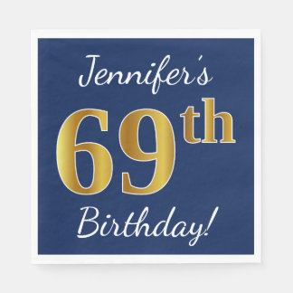 Blue, Faux Gold 69th Birthday + Custom Name Paper Napkin