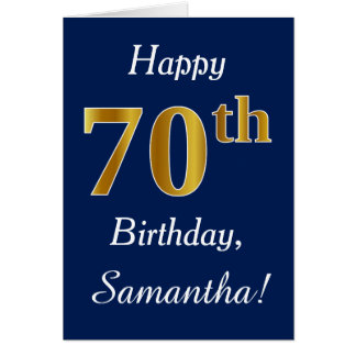 Blue, Faux Gold 70th Birthday + Custom Name Card