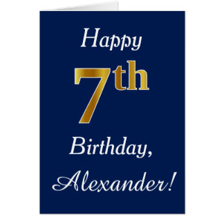 Blue, Faux Gold 7th Birthday + Custom Name Card