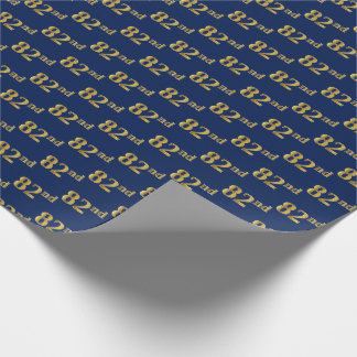 Blue, Faux Gold 82nd (Eighty-Second) Event Wrapping Paper