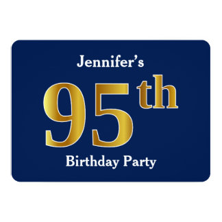 Blue, Faux Gold 95th Birthday Party + Custom Names Card