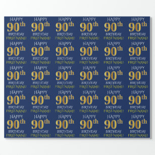 Blue Faux Gold HAPPY 90th BIRTHDAY Wrapping Paper