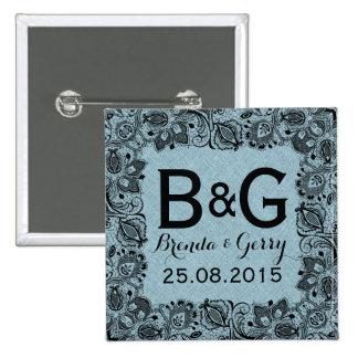 Blue Faux Linen & Black Floral Lace Frame 15 Cm Square Badge