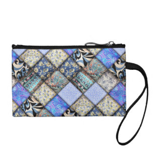 Blue Faux Patchwork Quilting Pattern Coin Purse