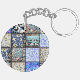 Blue Faux Patchwork Quilting Pattern Key Ring
