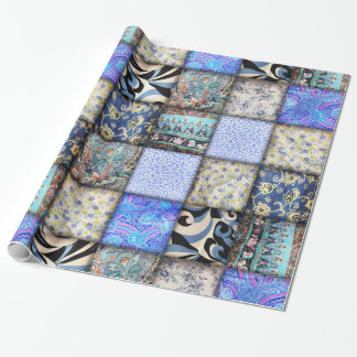 Blue Faux Patchwork Quilting Pattern Wrapping Paper