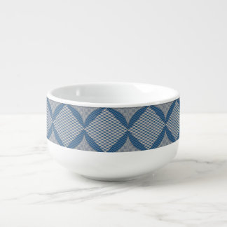 Blue Faux Quilt Soup Mug