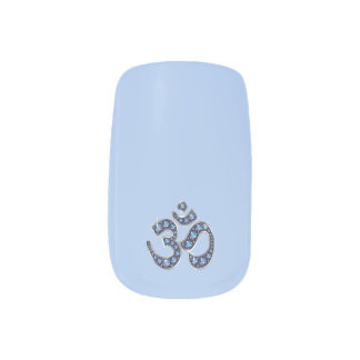 Blue Faux-Sapphire Om Symbol Nails Minx Nail Art