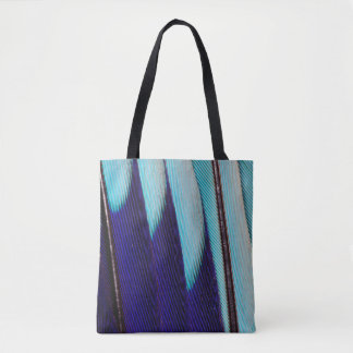 Blue Feather Design Abstract Tote Bag