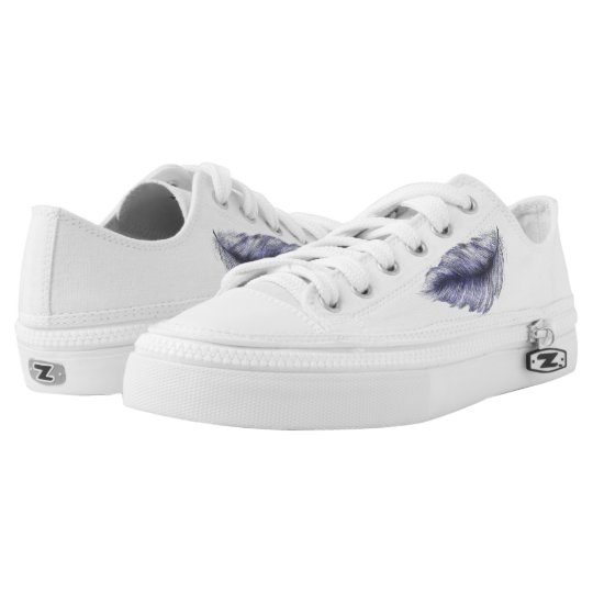 Blue Feather on Canvas Trainer Shoe Printed Shoes