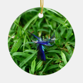 Blue Feather On Grass Ornament