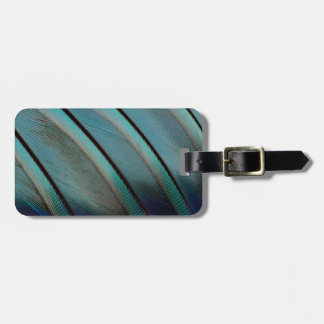 Blue feather pattern luggage tag
