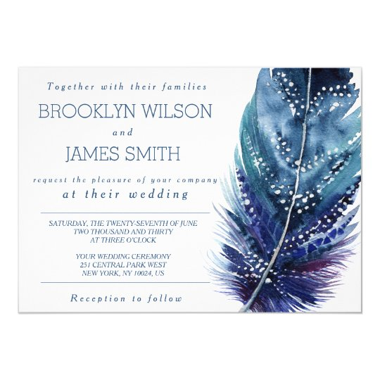 Blue Feather Wedding Invitations